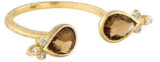 Jude Frances 18K Quartz & Diamond Double Teardrop Ring