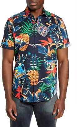Robert Graham Postcards Regular Fit Tropical Short Sleeve Button-Up Sport Shirt