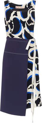 Marni Sleeveless Woven Faux Wrap Dress