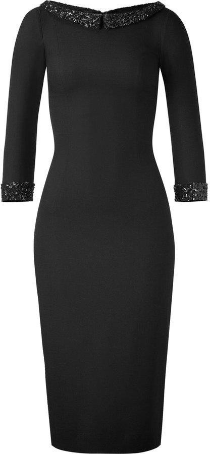 LWren Scott Black Sheath Dress with Sequin Trim