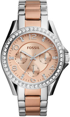 Fossil Women's Riley Two-Tone Stainless Steel Bracelet Watch 38mm ES4145 $135 thestylecure.com