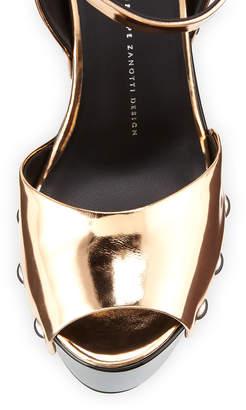Giuseppe Zanotti Metallic Wooden Clog Sandals, Ramino