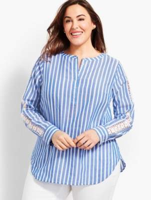 Talbots Cotton Lace-Sleeve Popover