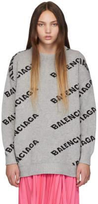Balenciaga Grey and Black Oversized Logo Sweater