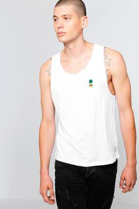boohoo Drop Arm Hole Vest With Pineapple Badge