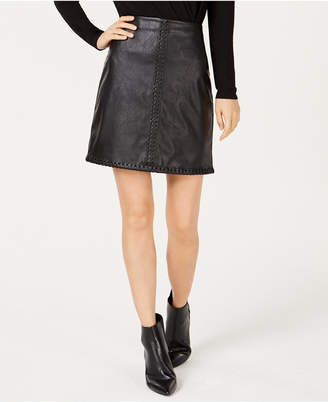 INC International Concepts I.n.c. Petite Faux Leather Whip Stitch Mini Skirt