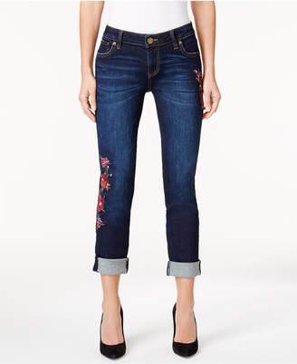 KUT from the Kloth Petite Catherine Embroidered Boyfriend Jeans