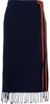 Caravana - Tulix Leather-trimmed Fringed Cotton-gauze Pareo - Navy