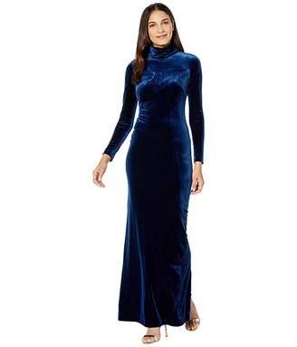 Badgley Mischka High Neck Long Sleeve Velvet Slim Gown