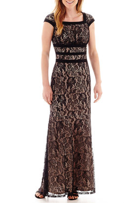 Ombre Melrose Cap-Sleeve Lace Long Dress $110 thestylecure.com