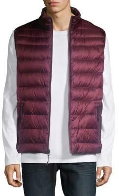 Black & Brown Black Brown Horizontal-Quilt Down Puffer Vest