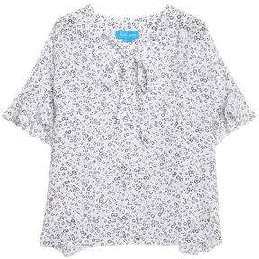 MiH Jeans Dawes Pussy-Bow Floral-Print Silk Blouse