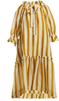 LEE MATHEWS Watson striped linen midi dress