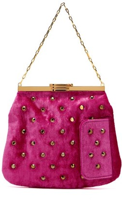 Bienen Davis Bienen-davis - 4am Studded Velvet Clutch - Womens - Pink