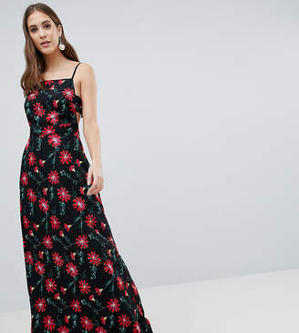 Asos Tall DESIGN Tall square neck maxi dress in floral print