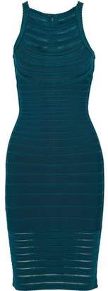 Herve Leger Emely Mesh-Trimmed Bandage Dress