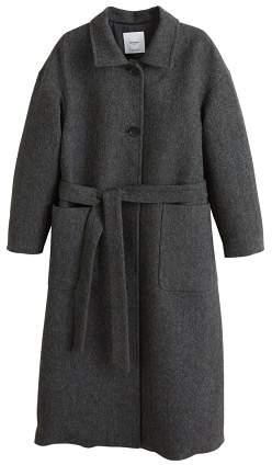 Buttoned herringbone coat