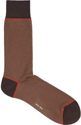 Reiss ROTER COLOUR BLOCKED SOCKS Tobacco