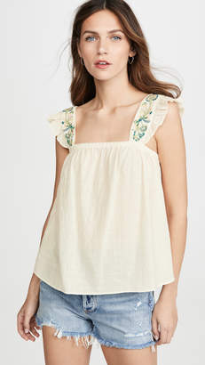 Madewell Embroidered Strap Flutter Sleeve Top