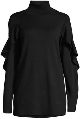 Elie Tahari Kacey Ruffle Trim Turtleneck Sweater