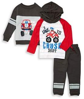 Nannette Baby Boy's Three-Piece Monster Truck Top, Hoodie & Pants Set