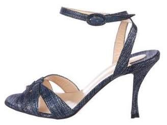 Christian Louboutin Metallic Ankle-Strap Sandals