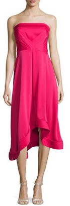 Shoshanna Strapless Asymmetric Crepe Cocktail Dress, Magenta $525 thestylecure.com