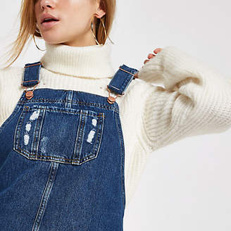 River Island Blue frayed hem denim overall dress