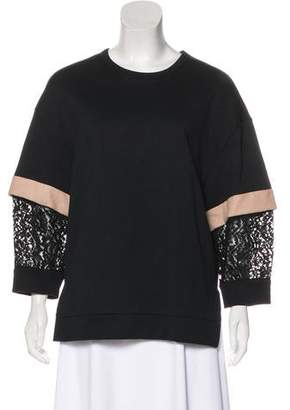 No.21 No. 21 Lace-Accented Scoop Neck T-Shirt