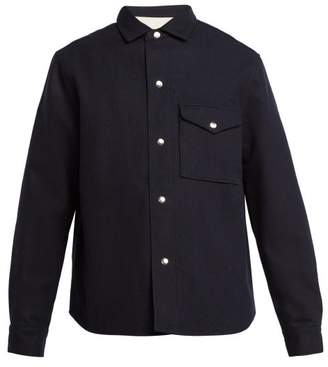 Ami Wool Blend Overshirt - Mens - Navy