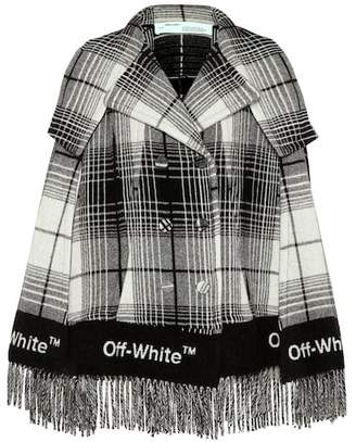 Off-White Wool-blend plaid poncho
