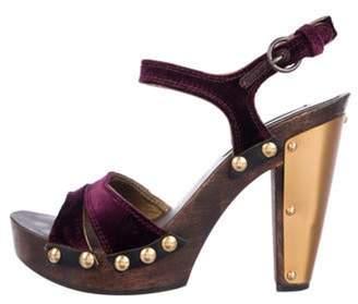 Miu Miu Velvet High-Heel Sandals Purple Velvet High-Heel Sandals