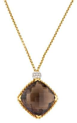 David Yurman Smoky Quartz & Diamond Cushion on Point Necklace