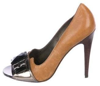 Tory Burch Peep-toe Leather Pumps
