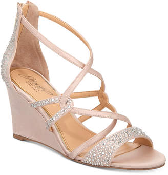Badgley Mischka Ally Strappy Evening Wedge Sandals Women's Shoes