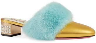 Gucci Candy Genuine Mink Fur Mule