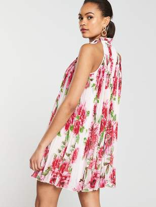 adc66457e3 River Island Floral Cut Away Pleated Swing Dress-floral
