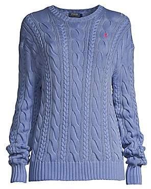 Polo Ralph Lauren Women's Cable-Knit Elbow-Patch Cotton Sweater