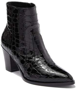 Alberto Fermani Leather Crocodile Embossed Block Heel Ankle Boot