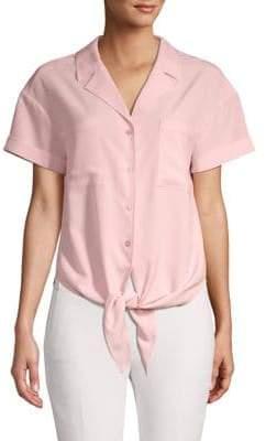 Halston H Self-Tie Button-Front Down Shirt
