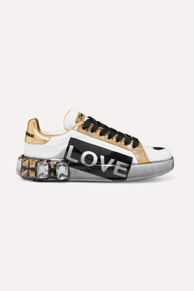 Dolce & Gabbana Embellished Printed Metallic-trimmed Leather Sneakers - White