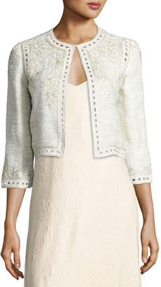 Monique Lhuillier Embroidered Boucle Cropped Jacket, Gray