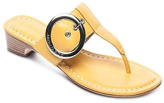 Bernardo Women's Leather Buckle Block Heel Thong Sandals