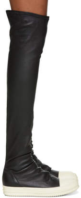 Rick Owens Black and White Stocking Thigh-High Boots