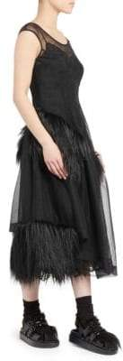 Simone Rocha Faux Fur Trimmed Tulle Dress