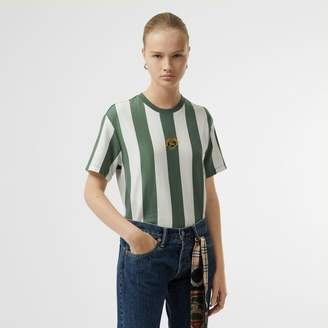 Burberry Embroidered Crest Striped Cotton T-shirt