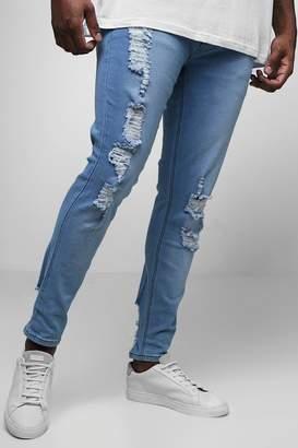 boohoo Big & Tall Distressed Skinny Fit Jeans