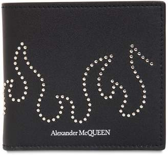a9ab48bd9cd2c Alexander McQueen Studded Flame Leather Billfold Wallet