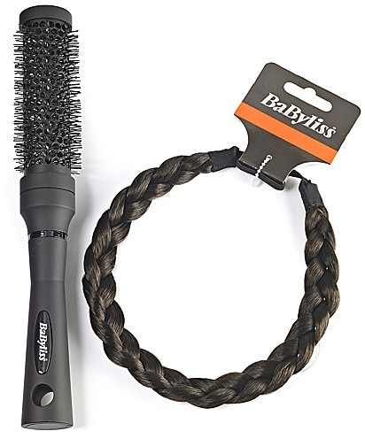 Dark Brown Braided Headband and Ceramic Brush Set
