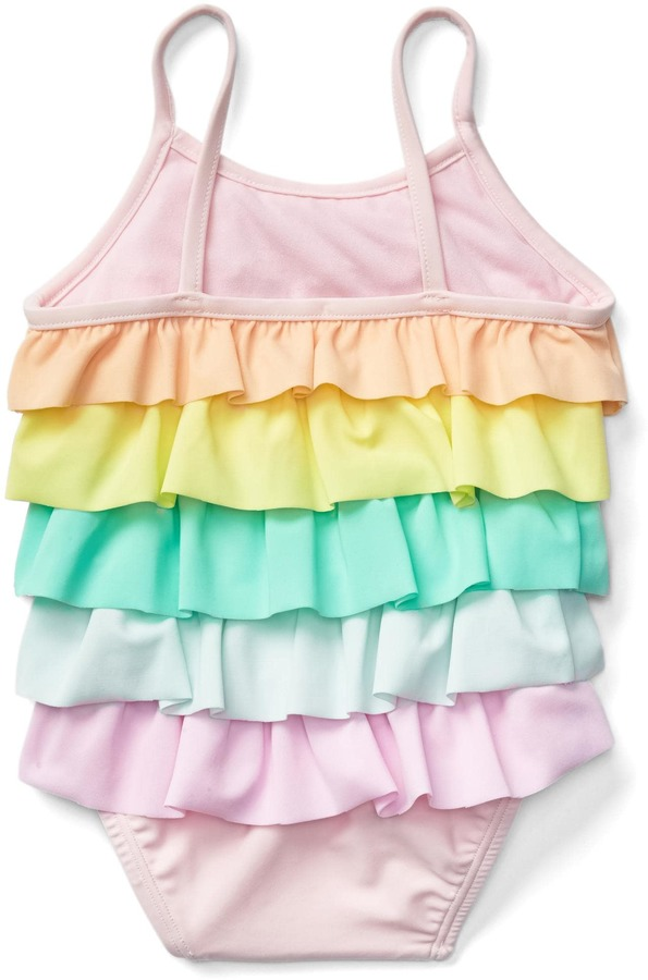 Pastel rainbow ruffle swim one-piece 5